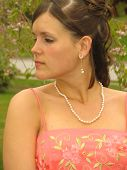 stock photo of senior prom  - Portrait of a Young Woman in Formal Dress - JPG