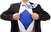 stock photo of superman  - Businessman with courage and superman concept - JPG