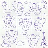 Постер, плакат: Set of vector Christmas angels and ornaments in doodle style included xmas tree mistletoe angels