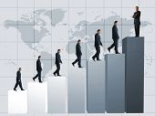 pic of business success  - business men climbing a graph with one confident business man on top - JPG