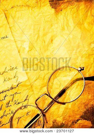 Vintage Paper With Old  Eyeglasses