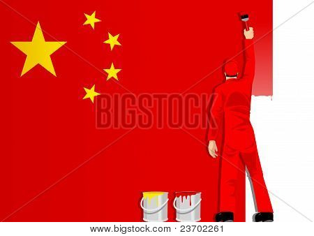 Painting The Flag Of China