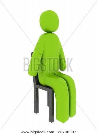 Green Man Sitting On The Chair - Social Themes