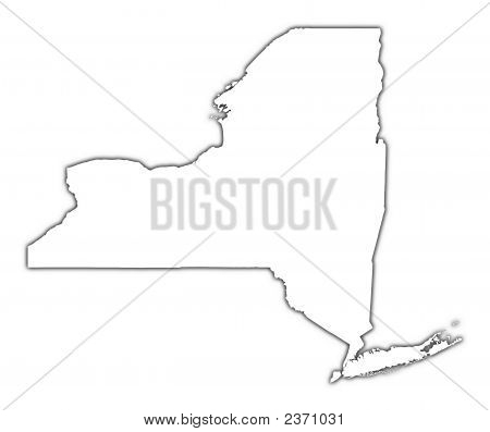 New York (Usa) Outline Map With Shadow
