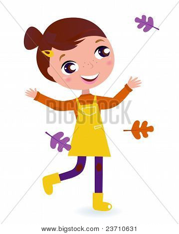 Cute Running Child With Autumn Leaves Isolated On White..