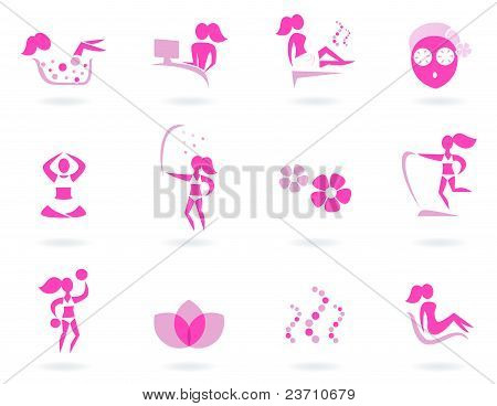 Pink Spa, Wellness & Sport Female Icons Isolated On White..