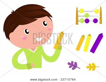 Back To School: Little Boy With Education Items Isolated On White..