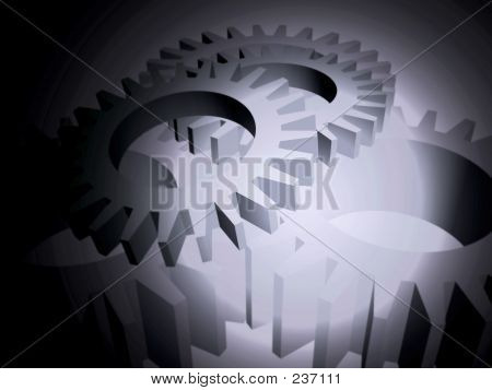 Gears Over Black With Lightflare