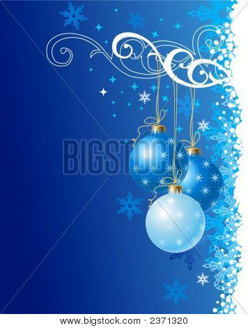 Blue  Christmas Background / Holiday Ornament / Vector Illustration