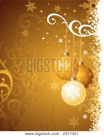 Gold Christmas Background / Vector Illustration