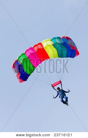 Parachutist Demonstrate Jumping From Airplane