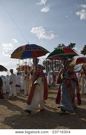 Christian Orthodox Devotees Walking Under Their Ceremonial Umbrella At The Timket Festival.