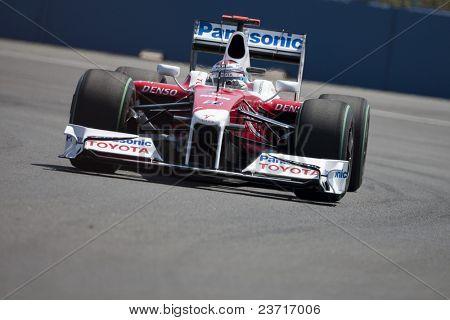 VALENCIA, SPAIN - AUGUST 22: Formula 1 Grand Prix of Europe in Valencia Street Circuit - Jarno Trulli with TF109 of Toyota August 22, 2009 in Valencia, Spain