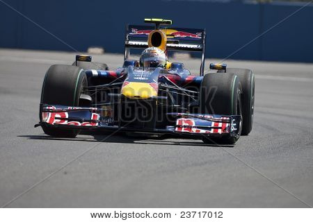 VALENCIA, SPAIN - AUGUST 22: Formula 1 Grand Prix of Europe in Valencia Street Circuit - Sebastian Vettel with RB5 of Red bull Racing August 22, 2009 in Valencia, Spain
