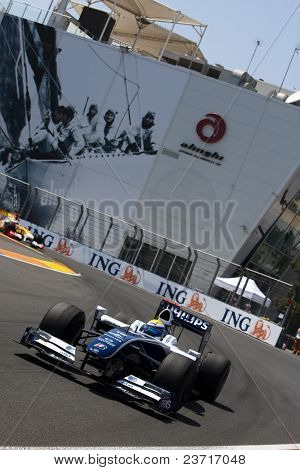 VALENCIA, SPAIN - AUGUST 23: Formula 1 Grand Prix of Europe in Valencia Street Circuit - Nico Rosberg with FW31 of Williams Toyota - on August 22, 2009 in Valencia, Spain