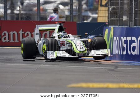 VALENCIA, SPAIN - AUGUST 23: Formula 1 Grand Prix of Europe in Valencia Street Circuit - Jenson Button with BGP 001 of Brawn GP - on August 22, 2009 in Valencia, Spain