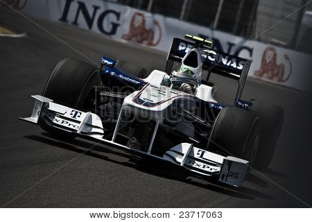 VALENCIA, SPAIN - AUGUST 23: Formula 1 Grand Prix of Europe in Valencia Street Circuit - Nick Heidfeld - on August 22, 2009 in Valencia, Spain