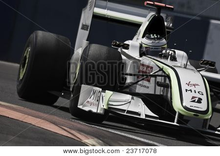 VALENCIA, SPAIN - AUGUST 23: Formula 1 Grand Prix of Europe in Valencia Street Circuit - Jenson Button - on August 22, 2009 in Valencia, Spain
