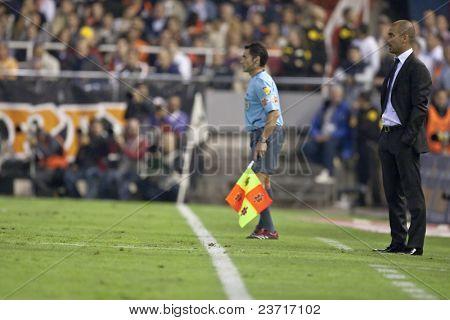 VALENCIA, SPAIN - OCTOBER 17 - Josep Guardiola - FootBall Match of Spanish Professional Soccer League between Valencia C.F. vs F.C. Barcelona - Mestalla Luis Casanova Stadium on October 17, 2009 in Valencia, Spain