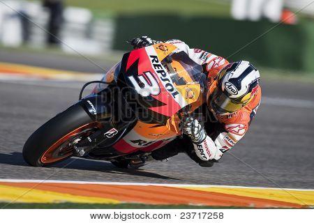 VALENCIA, SPAIN - NOVEMBER 6: MotoGP  Comunitat Valenciana - Dani Pedrosa - on November 6, 2009 in Valencia, Spain