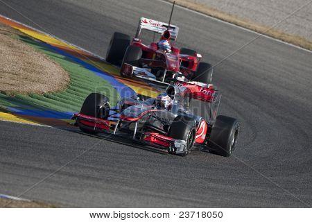 Valencia, Spanien Februar 3: f1 test erste Auto Jenson Button und 2. Alonso zum 3. Februar 2010