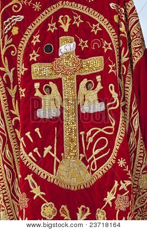 Christian Orthodox Cross On Clothing At The Timket Festival.