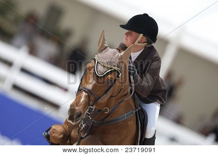 VALENCIA, SPAIN - MAY 7: Rider Katharina Beeking, Horse Quaterback, Germany in the Global Champions Tour Valencia 2010 equestrian - the City of Arts and Sciences of Valencia, Spain on May 7, 2010