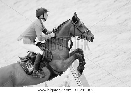 VALENCIA, SPAIN - MAY 8: Rider Schwizer, Horse Ulysse, SUI in the Global Champions Tour Valencia 2010 equestrian - the City of Arts and Sciences of Valencia, Spain on May 8, 2010