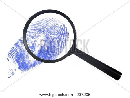 Magnifying Glass Over A Blue Finger Print