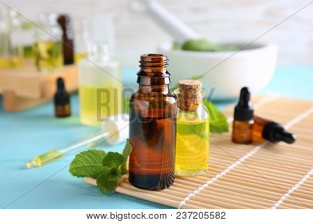 Bottles With Essential Oils On