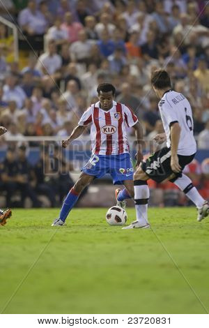 VALENCIA, SPAIN - SEPTEMBER 22 - FootBall Match of Spanish Professional Soccer League between Valencia C.F. vs AT. Madrid - Mestalla Luis Casanova Stadium - Assun?ao - Spain on September 22, 2010