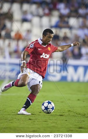 VALENCIA, SPAIN - SEPTEMBER 29: UEFA Champions League, Valencia C.F. vs Manchester United, Mestalla Stadium, Nani, Spain on September 29, 2010