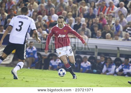 VALENCIA, SPAIN - SEPTEMBER 29: UEFA Champions League, Valencia C.F. vs Manchester United, Mestalla Stadium, Berbatov, Spain on September 29, 2010