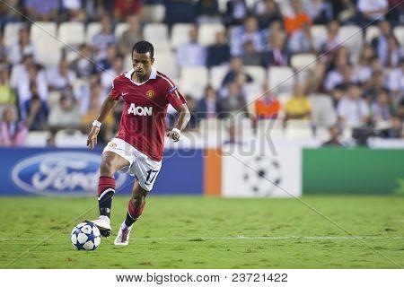 VALENCIA, SPAIN - SEPTEMBER 29, UEFA Champions League, Valencia C.F. vs Manchester United, Mestalla Stadium, Nani, on September 29, 2010 in Valencia, Spain