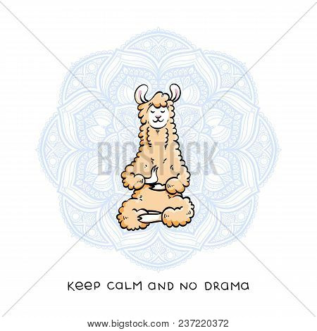 poster of Cute Meditating Furry Llama. Vector Cartoon Illustration On A White Background With Motivational Let