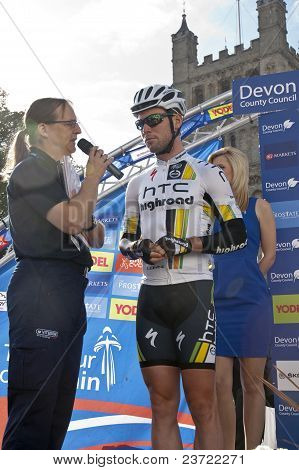 Mark Cavendish from HTC Highroad team preparing to start the Tour of Britain 2011 stage five from Ex