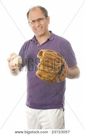 Middle Age Senior Man Softball Throwing Into Baseball Glove On White Background