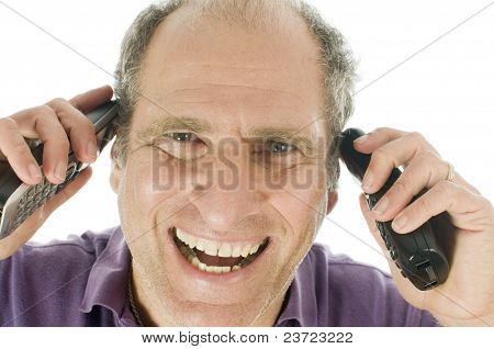 Handsome Middle Age Senior Man Business Service Rep Happy  Talking On Telephone