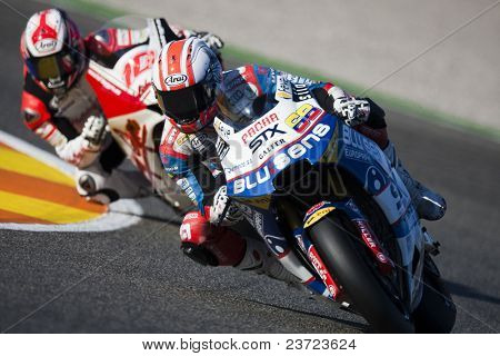 VALENCIA, SPAIN - NOVEMBER 6: #68 Hernandez, #10 Fonsi Nieto in motogp Grand Prix of the Comunitat Valenciana, Ricardo Tormo Circuit of Cheste, Spain on november 6, 2010