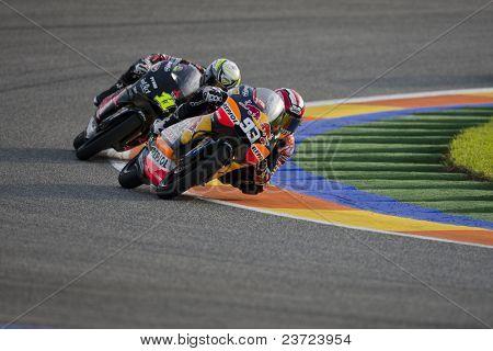 VALENCIA, SPAIN - NOVEMBER 7: #93 Marc Marquez, #11 Cortese in motogp Grand Prix of the Comunitat Valenciana, Ricardo Tormo Circuit of Cheste, on November 7, 2010 in Valencia, Spain