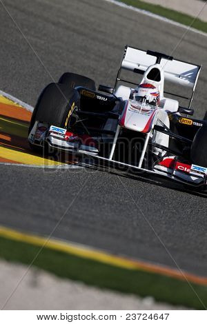 VALENCIA, SPAIN - FEBRUARY 1: F1 Winter Test - Kobayashi, Sauber F1 - on February 1, 2011 in Cheste, Valencia, Spain