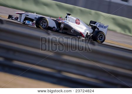VALENCIA, SPAIN - FEBRUARY 2: F1 Winter Test - Kobayashi, Sauber Team - on February 2, 2011 in Cheste, Valencia, Spain