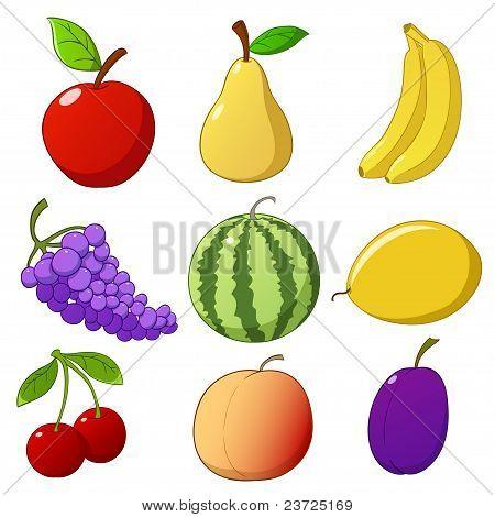 Set Cartoon Hand Drawn Fruits