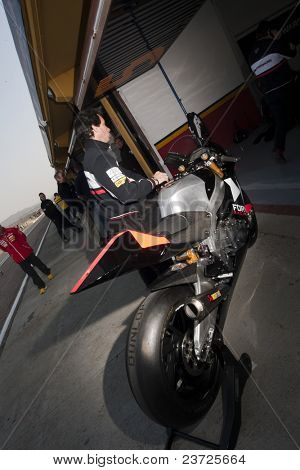 VALENCIA, SPAIN - FEBRUARY 10: - Moto2 and 125cc Test - Jules Cluzel motorbike - on February 10, 2011 in Cheste, Valencia, Spain