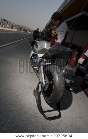 VALENCIA, SPAIN - FEBRUARY 10: - Moto2 and 125cc Test - Mika Kalio Motorbike - on February 10, 2011 in Cheste, Valencia, Spain