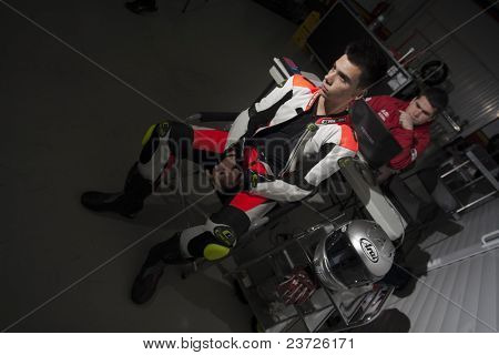 VALENCIA, SPAIN - FEBRUARY 11: Participant in the Moto2 and 125cc Test - Miguel Oliveira - on February 11, 2011 in Cheste, Valencia, Spain