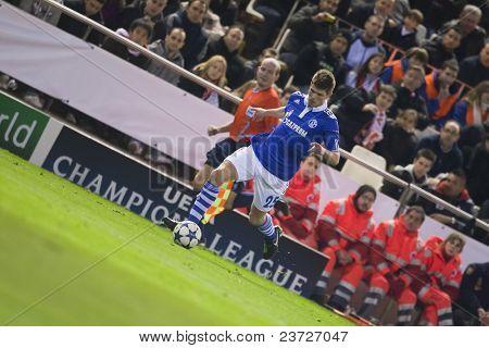 VALENCIA, SPAIN - FEBRUARY 15 - Huntelaar in the UEFA Champions League between Valencia C.F. vs Schalke 04 - Mestalla Luis Casanova Stadium - Spain on February 15, 2011