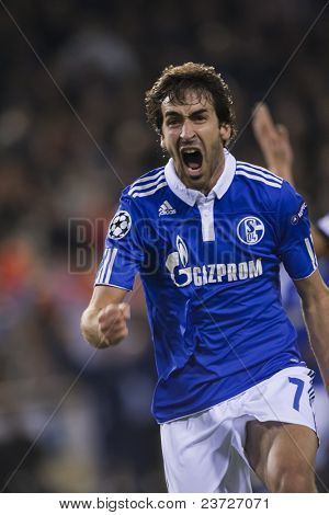 VALENCIA, SPAIN - FEBRUARY 15 - Raul Gonzalez in the UEFA Champions League between Valencia C.F. vs Schalke 04 - Mestalla Luis Casanova Stadium - Spain on February 15, 2011