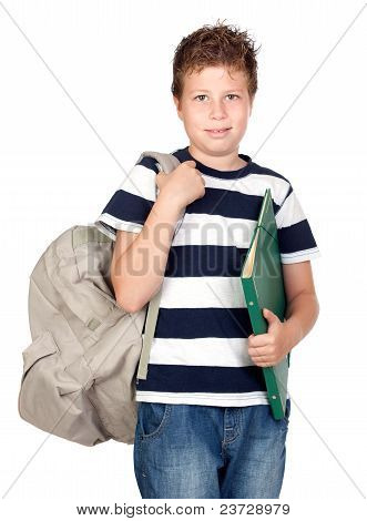 Back To School. Beautiful Student Boy
