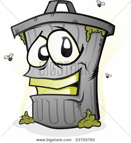 Smiling Dirty Trash Can
